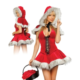 Adult sexy christmas costume lil red hot riding hood costume 1024