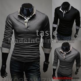 Wholesale -2013- men's t-Shirts Slim Korean Long sleeve men t shirts  lapel shirt overshirt  Black/grey