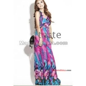 New Fashion V neck Floral dress,Bohemian style Maxi Chiffon Long skirt,free shipping-04