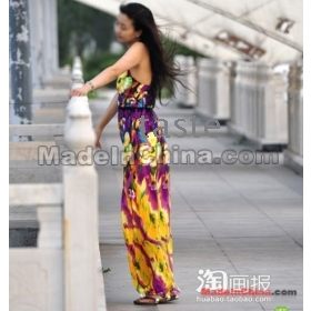 New Fashion V neck Floral dress,Bohemian style Maxi Chiffon Long skirt,free shipping-05