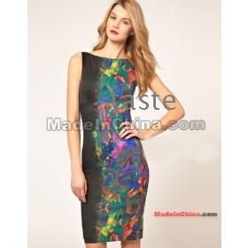 Wholesale - Women's Evening Dresses -neck Bandage Nude color stretch essential-D82