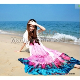 New Fashion V neck Floral dress,Bohemian style Maxi Chiffon Long skirt,free shipping-06