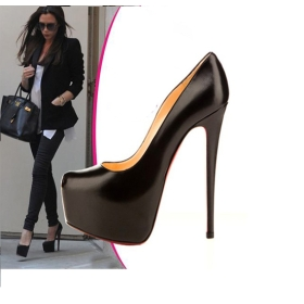 Free Shipping New Arrival Western Style Polish Vamp High Pump Black Popular GZ11120611