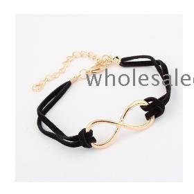 New Arrival Fashion Korea Simple Bowknot Metal Chain Bracelet Black YW13051576