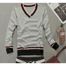 Free shipping Men's Coat Special Design Men's V Collar Stripe Sweater White M/L/XL O12021113-1