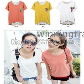 womens ladies girls Stitching loose irregular short-sleeved T-shirt 3 color size: S M L XL