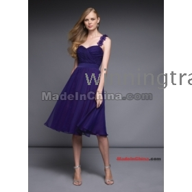 2012  Flower One Shoulder Sweetheart Neckline Ruffle  Length Bridesmaid Dress