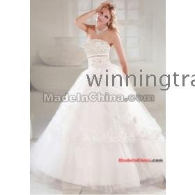 2012  white   Satin & Organza   Strapless    beading   ball gown wedding  dress