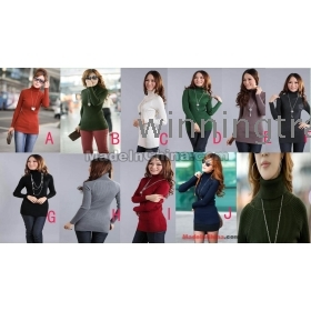 womens ladies girls Elastic High collar turtleneck long-sleeve Slim thickened knitted sweater