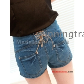 hot selling womens lasies girls casual empire waist  up back jeans denim shorts