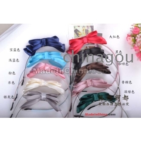 Fashion Hair Accessories,Cute Three Layer Silk Bow Hairbands,Headband ,Headwear,20pcs/lot  fg03