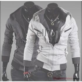 Wholesale -Free shipping - Slim mens Jacket casual Jacket mens Coat men's Outerwear gray men's hoodie XXL XL L M