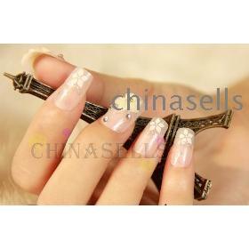 free ship 3D beauty acrylic nail art false  nail tips stickers bridal nail accessories back glue style 24pcs/set