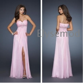Free Shipping 2013 Newly Arriving  Beaded Accents Chiffon Sexy Front Slit Prom Dresses