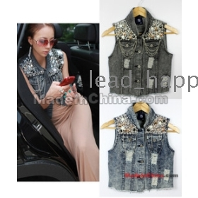 Free shipping women's fashion Lapel short denim jacket pearls Slim jacket vest 9455