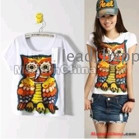 Free shipping women's owl cotton T-shirt short-sleeved 508 shirts