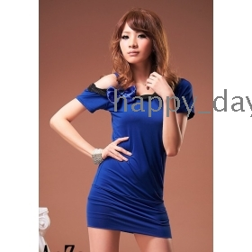 NEW women Sexy summer single shoulder Suspenders  butterfly knot Dress tops 8035
