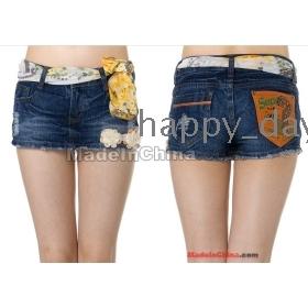 Free Shipping woman's Chiffon denim shorts hot pants false skirt worn (with belt)