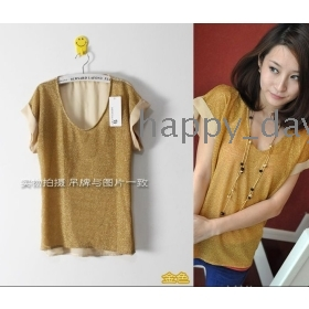 NEW womens summer Shiny gold / silver chiffon mosaic irregular hedging t-shirt # 511