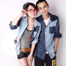 Free Shipping fashion N325-1230 Polka Dot denim stitching couple shirt women's clothes