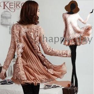 Free Shipping women's NEW  Slits Chiffon pleated long sleeve dress Skirt