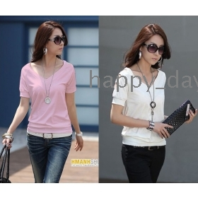Free Shipping fashion 2012 new strapless V-neck simple loose T-shirt women's clothes