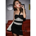 Free Shipping Fall Winter fashion 406-8225 sexy shoulder V-neck sequined  skirts dress women's clothes