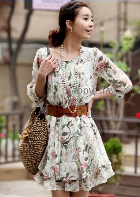 Free Shipping women's NEW Sleeve Chiffon Skirt Floral Dress (with belt)