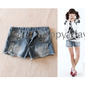 Free Shipping woman's Light-colored tassels hole denim shorts hot pants