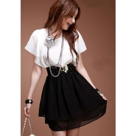 Free Shipping factory wholesale new women's  leaf sleeve round brought snow spins dress skirt