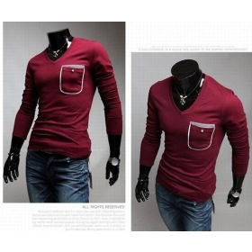 New Characteristic Pocket Men's T-Shirts Casual Slim Fit Stylish Dress Shirts Color:3 Colors Size:M-- L --XL G