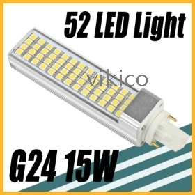 15W 52 LED SMD 5050 Cool  Bulb Lamp 220V G24 new