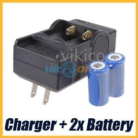 Dual Slot Smart Travel Charger+ 2x UltraFire 1200mAh 16340 CR123A Battery
