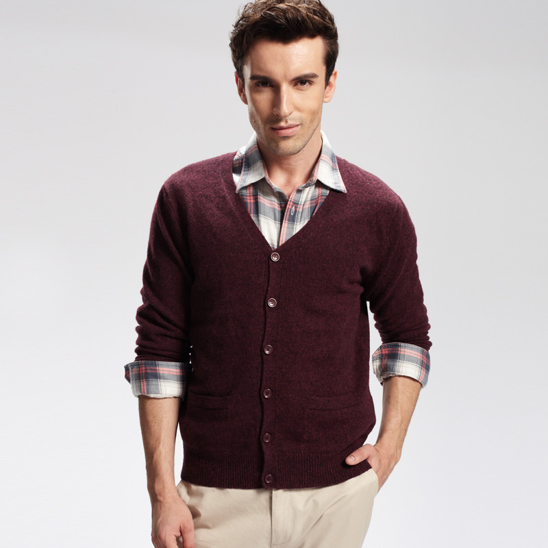 VANCL Premium Wool V Neck Cardigan Maroon SKU – Wholesale VANCL ...