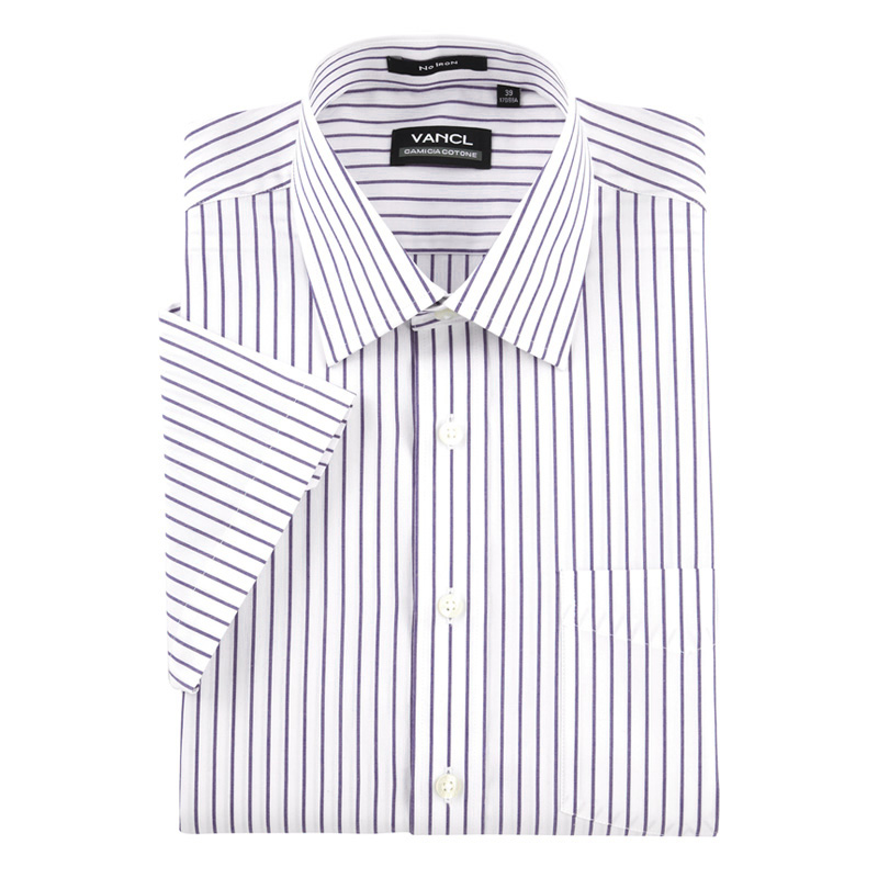 Vancl anti wrinkle striped dress shirt purple wholesale for Purple striped dress shirt