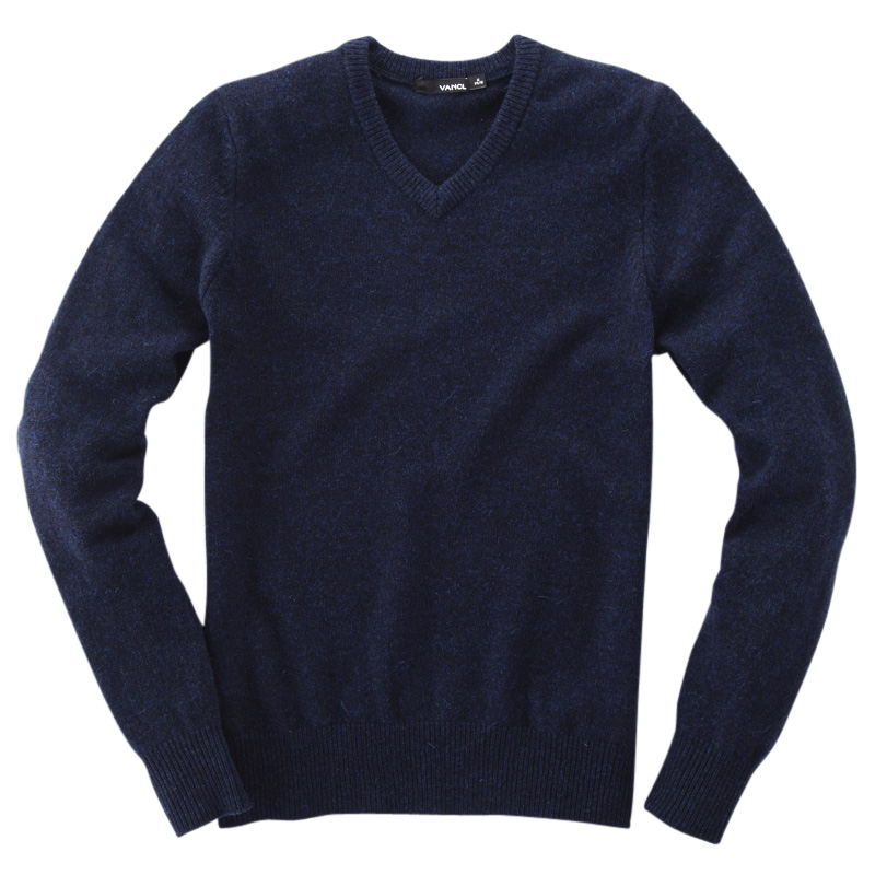 VANCL V Neck Premium Wool Sweater Navy Blue SKU – Wholesale VANCL ...