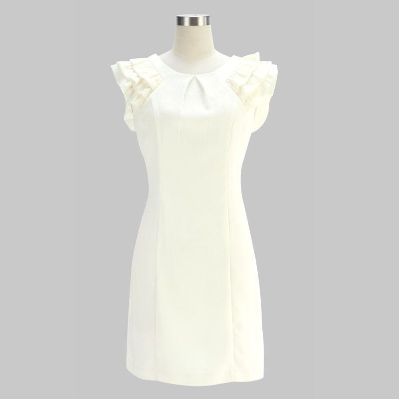 Dress White SKU 37 – Wholesale VANCL Ruffled Sleeves One Piece Dress ...