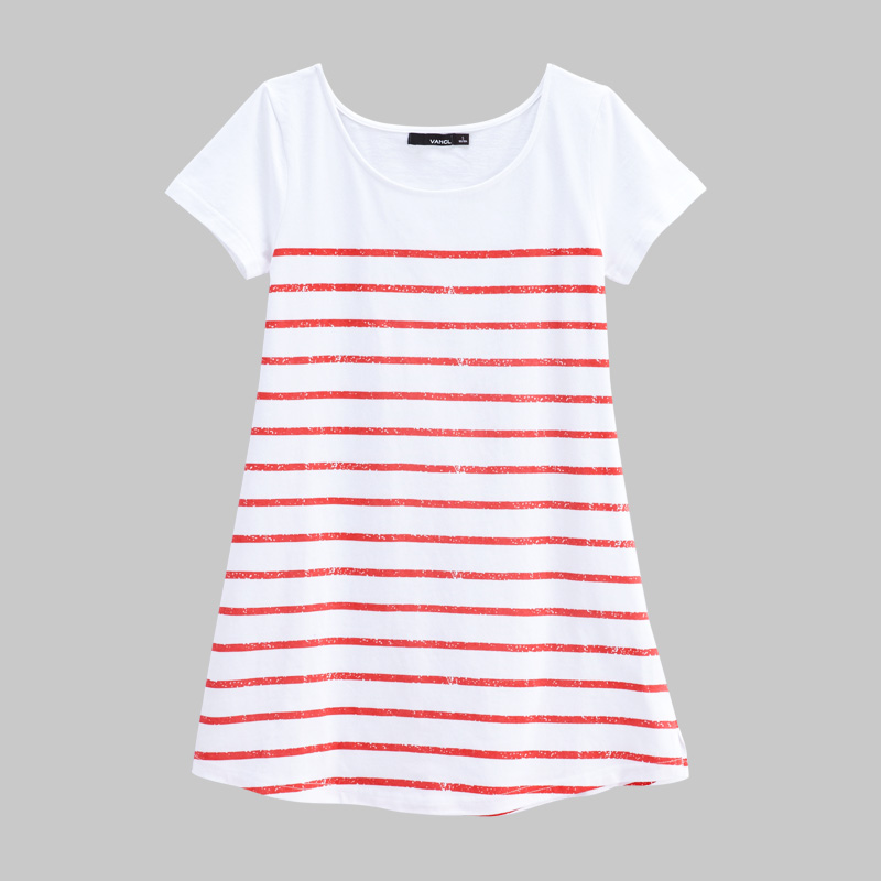 vancl sailor stripe long line t shirt red white. Black Bedroom Furniture Sets. Home Design Ideas