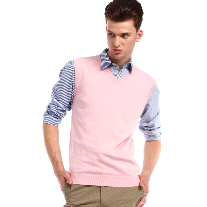 Pink Argyle Sweater Vest Mens - Cashmere Sweater England