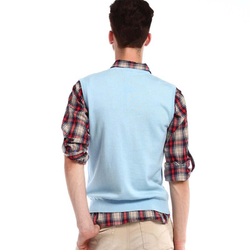 VANCL Classic Solid Sweater Vest MEN Light Blue – Wholesale VANCL ...