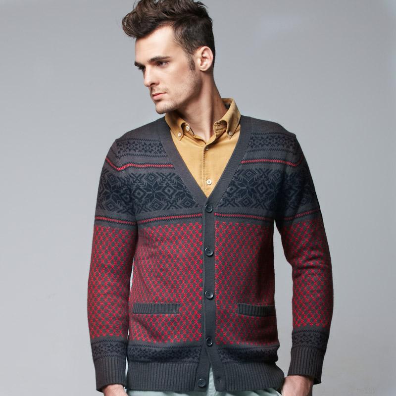 VANCL Fair Isle Pattern Jacquard MEN Cardigan Red – Wholesale ...
