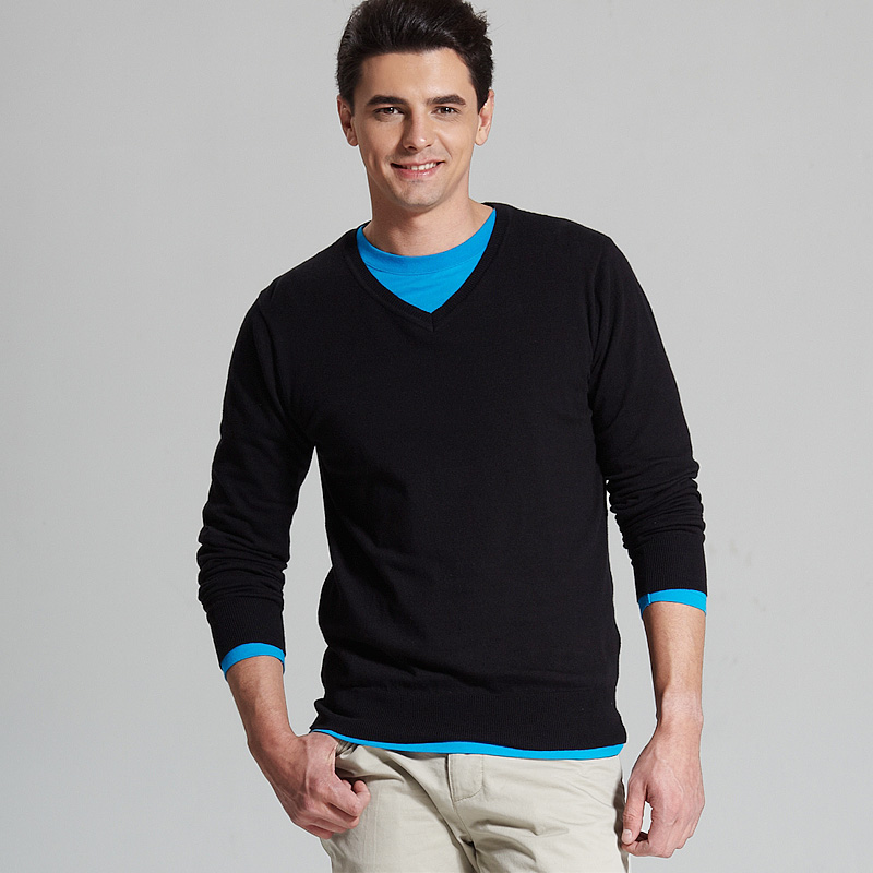 VANCL Cotton V Neck Sweater Black SKU 60097 – Wholesale VANCL Fine ...