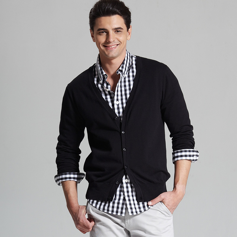 VANCL Cotton Button Cardigan Men s Black SKU 60110 – Wholesale ...
