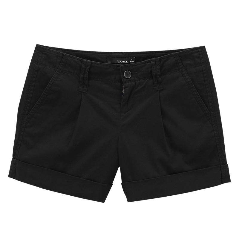 VANCL Sweet Pleated Roll Up Shorts s Black SKU – Wholesale VANCL Sweet Pleated Roll ...