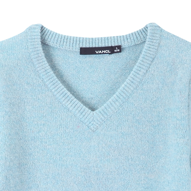 VANCL V Neck Wool Sweater Light Blue SKU 33225 – Wholesale VANCL V ...