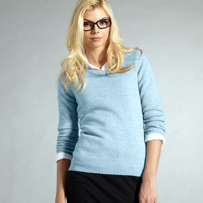 Buy VANCL V-Neck Wool Sweater (WOMEN) Light Blue SKU:33225 from ...