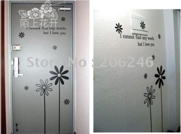 Ei deco no 109 flowers wall stickers window wholesale ei for Stickers murs deco