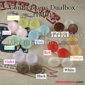 [100 pcs / lot] Contact Lens Case 10 Colors Dual Box Double Case Lens Soaking Case HM01
