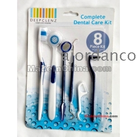 [MOQ 2 sets][Free shipping] 8 piece kit home dental care kit dental stain eraser mirror tongue tooth brush toothpick floss