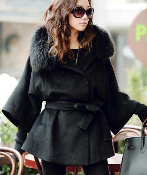 Black Fox Fur Collar Coat | Santa Barbara Institute for